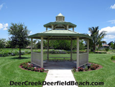 Take a break from your afternoon stroll in the shade of the gazebo